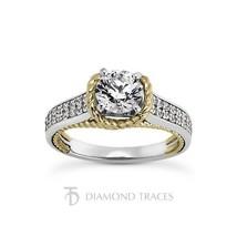 1.34ctw H-I1 Ideal Round AGI Genuine Diamonds 14k Gold Rope Cathedral Ri... - $2,300.56