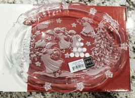 Mikasa Crystal Holiday Candy Dish with Angels and Christmas Trees - New - $11.70