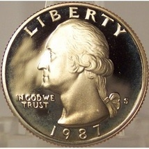 1987-S DCAM Proof Washington Quarter PF65 #873 - $3.19