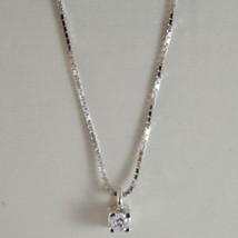 18K WHITE GOLD MINI NECKLACE WITH DIAMOND 0.04 CT, VENETIAN CHAIN MADE IN ITALY image 1