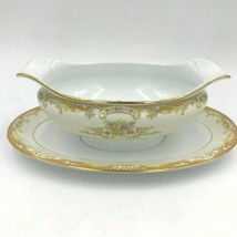 Noritake M China Olivia Gravy Boat Attached Underplate Gold Rim Scroll Floral DH - $49.95