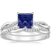 1/5CTW Princess Sapphire & CZ Diamonds 14K White Gold PL Willow Twisted ... - $89.99