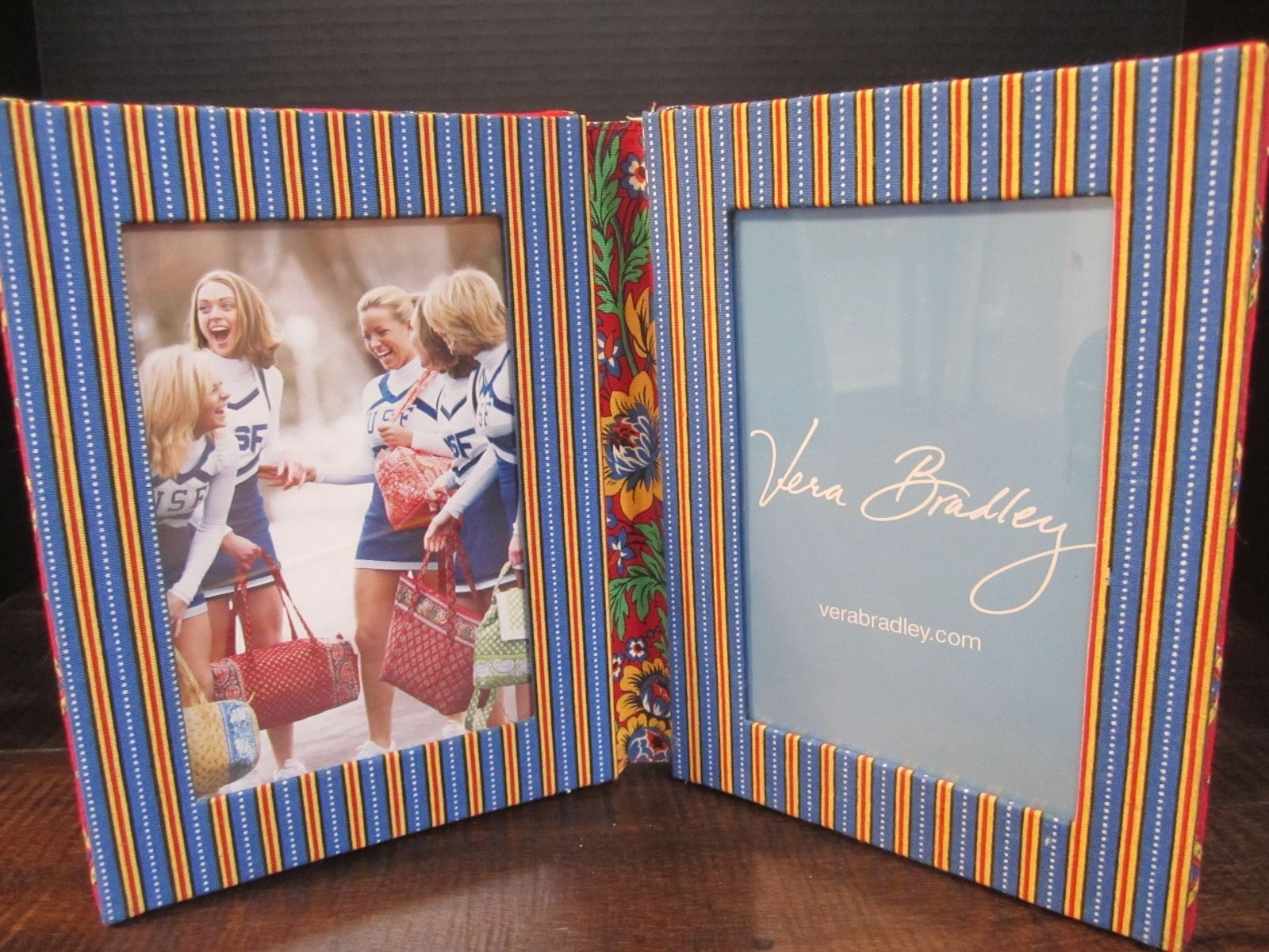 Vera Bradley 4x6 Double Picture Frame Quilted Folding Red Blue home decor
