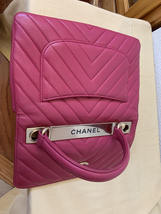 AUTHENTIC CHANEL PINK CHEVRON LAMBSKIN TRENDY CC 2 WAY HANDLE FLAP BAG GHW image 6