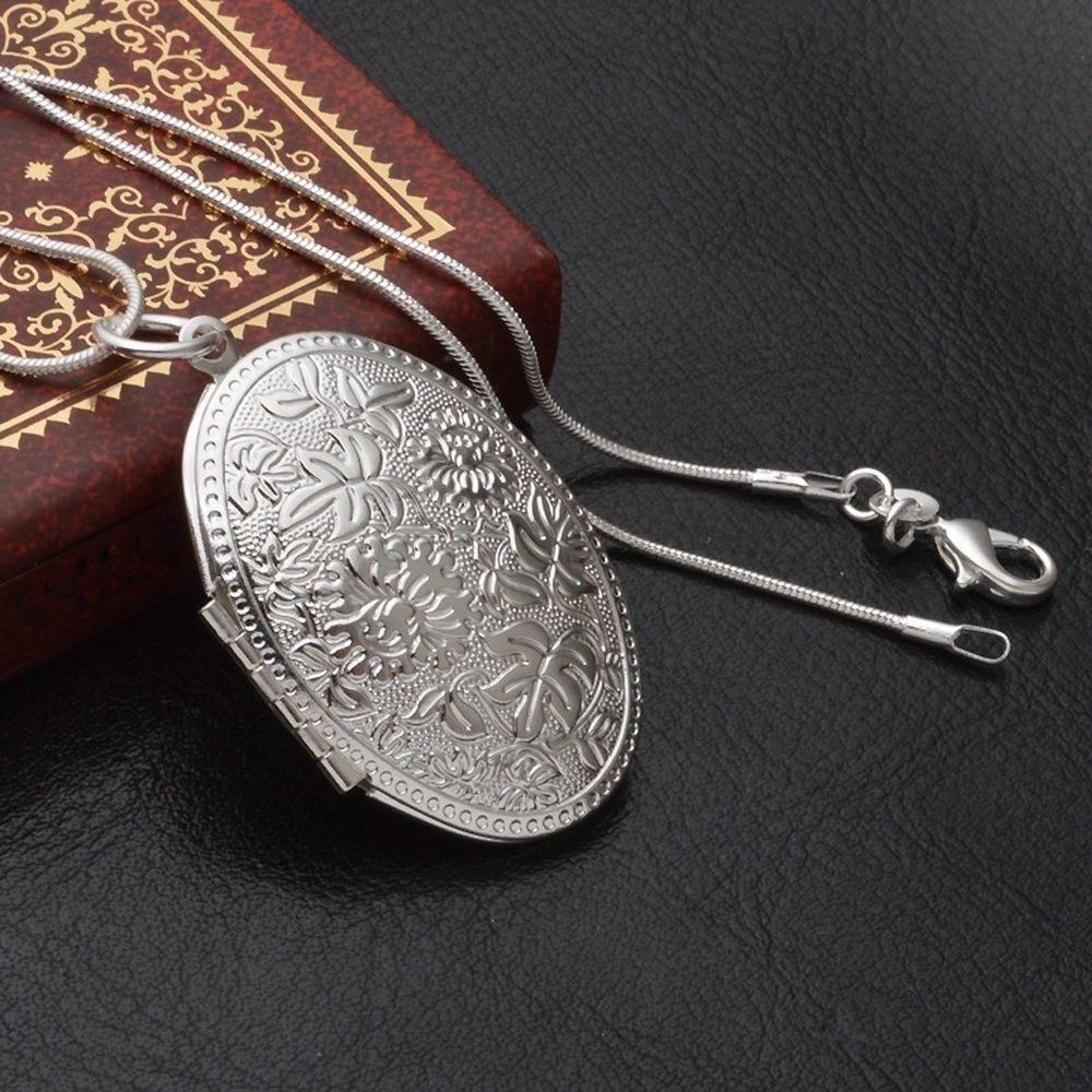 Silver Plated Vintage Pattern Open Oval Shape Pendant Locket Necklace