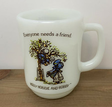 Vintage Holly Hobbie and Robby Mug White Milk Glass Everyone Needs A Friend EUC - $22.23