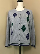 Liz Golf Liz Claiborne Gray/Navy/Green Argyle Knit Cardigan Sweater Wome... - $17.41