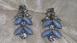 Blue rhinestone earrings blue cabochons vintage silver tone screw back - $15.00