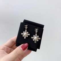 SALE* NEW AUTHENTIC Chanel 2019 Gold CC Pearl Crystal Piercing Earrings RARE image 4