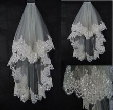 New Ivory/White Elbow Length Short Wedding Bridal Veil with Sequined Lac... - $17.10