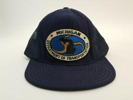 Trucker Hat Navy Blue Mesh Back Adjustable Snapback Michigan Dept Transp... - $19.59