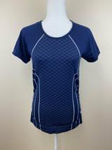 Athleta M Finish Fash Line Tee Navy White Workout Athletic Shirt Top - $18.99