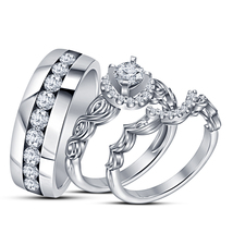 White Gold Finish Sterling Silver Round White Diamond His & Her Trio Ring Set - $152.99
