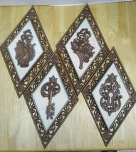 4 SYROCO Wall Plaques Numbers 4271 A,B,C,D Brown and White Triangular  - $14.52
