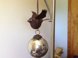 Window or Tree Ornament w Bird and Mercury style ball Vintage Look image 3
