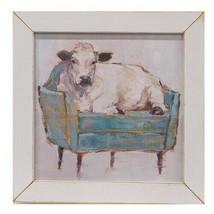 "Cow Potato Print in Distressed White Frame - 13.5"" - Farm Authentic Premium CWI - $49.95"