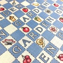 Garden Gingham Check Picnic Fabric Blue White by Fabric Traditions NTT - $4.50