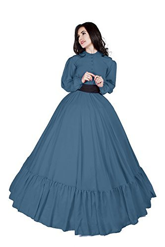 Civil War Reenactment Victorian Garibaldi 3 Piece Dress (2XL/3XL, French Blue)