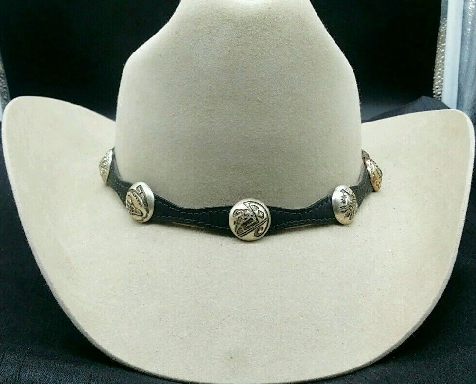 Primary image for NEW BLACK HATBAND Scalloped Leather w SILVER AZTEC CONCHOS & Buckle Set Hat Band