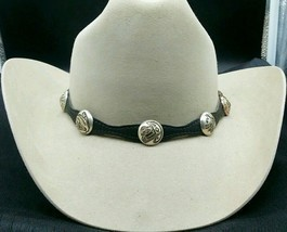 NEW BLACK HATBAND Scalloped Leather w SILVER AZTEC CONCHOS & Buckle Set ... - £19.68 GBP
