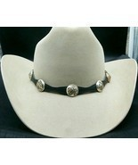 NEW BLACK HATBAND Scalloped Leather w SILVER AZTEC CONCHOS & Buckle Set ... - $565,16 MXN