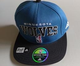 Adidas YOUTH NBA Minnesota Wolves Blue Design Snap-Back Flat Brim Size 4-7 - $20.00
