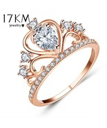 17KM® Wedding Jewelry Finger Crystal Heart Crown Rings For Women Cubic Z... - $5.59