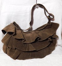 Lizden Brown Washable Suede Ruffle Bag with Adjustable Strap