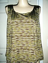 DORBY STRETCH KNIT BROWN/GRAY TANK TOP SIZE 18W - $14.50