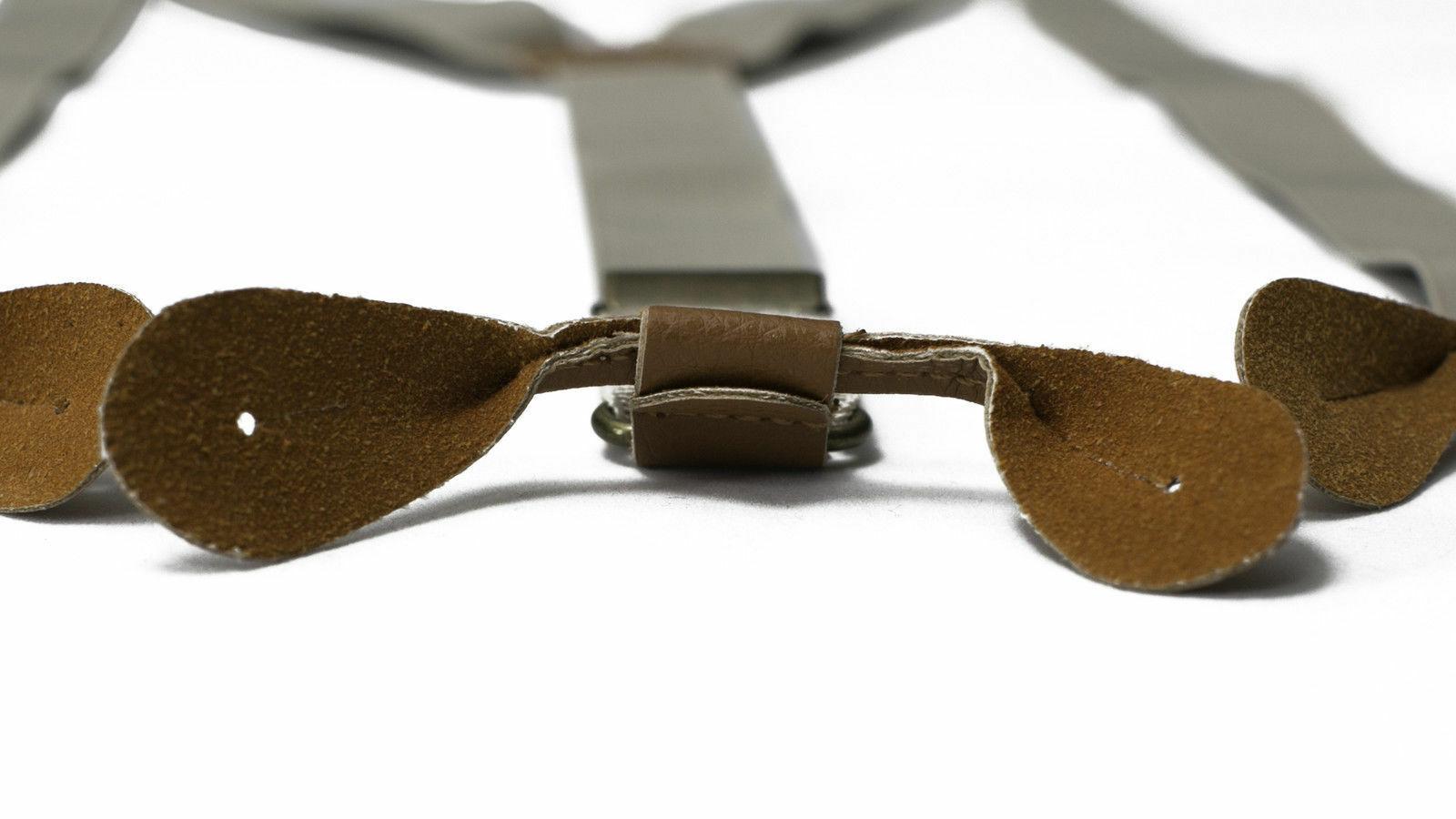 Beige Unisex Suspender Braces Adjustable Leather Button Holes Lycra/Elastane UK image 7
