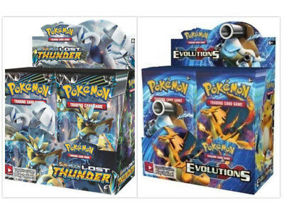 Pokemon TCG Sun & Moon Lost Thunder + XY Evolutions Booster Box Bundle