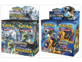 Pokemon TCG Sun & Moon Lost Thunder + XY Evolutions Booster Box Bundle - $224.99