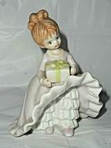 Bloomer Girl Pink Dress Gift Brown Hair White Ruffle Pantaloon Bisque Fi... - $14.84