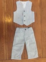 "Gymboree Boys' Size 3T Matching Seersucker Vest & Pants Gray ""Dressed Up"" £ - $19.30"