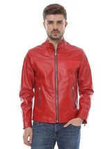 Men's Genuine Lambskin Leather Motorcycle Jacket Moto Slim fit Biker Jacket - R3 - $69.29+