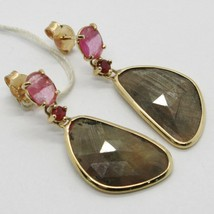 Yellow Gold Earrings 9K with Sapphires Pink and Brown and Rubies Made in Italy image 1