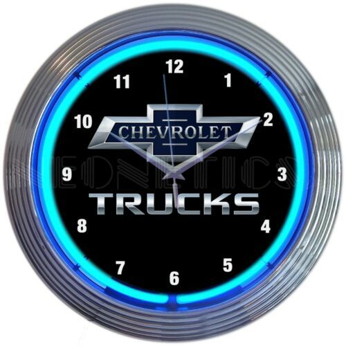 "Primary image for Chevy Trucks 100th Anniversary Car Garage Blue Light Neon Clock 15"" by 15"""