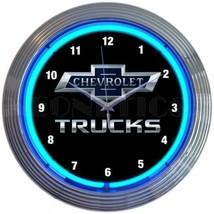 "Chevy Trucks 100th Anniversary Car Garage Blue Light Neon Clock 15"" by 15"" - $69.00"