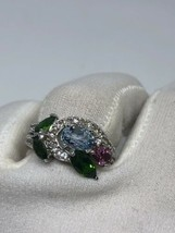 Vintage Real Mixed Colored Gemstone 925 Sterling Silver Size 6.75 Ring - $153.45