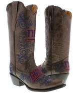 Womens NFL Collection New York Giants Brown Leather Western Cowboy Cowgi... - €160,87 EUR