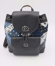 NWT Coach Blue Mini Turnlock Rucksack Canyon Quilt Denim Leather Backpac... - $195.00