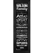 """Personalized San Antonio Spurs """"Family Cheer"""" 24 x 8 Framed Print - $39.95"""