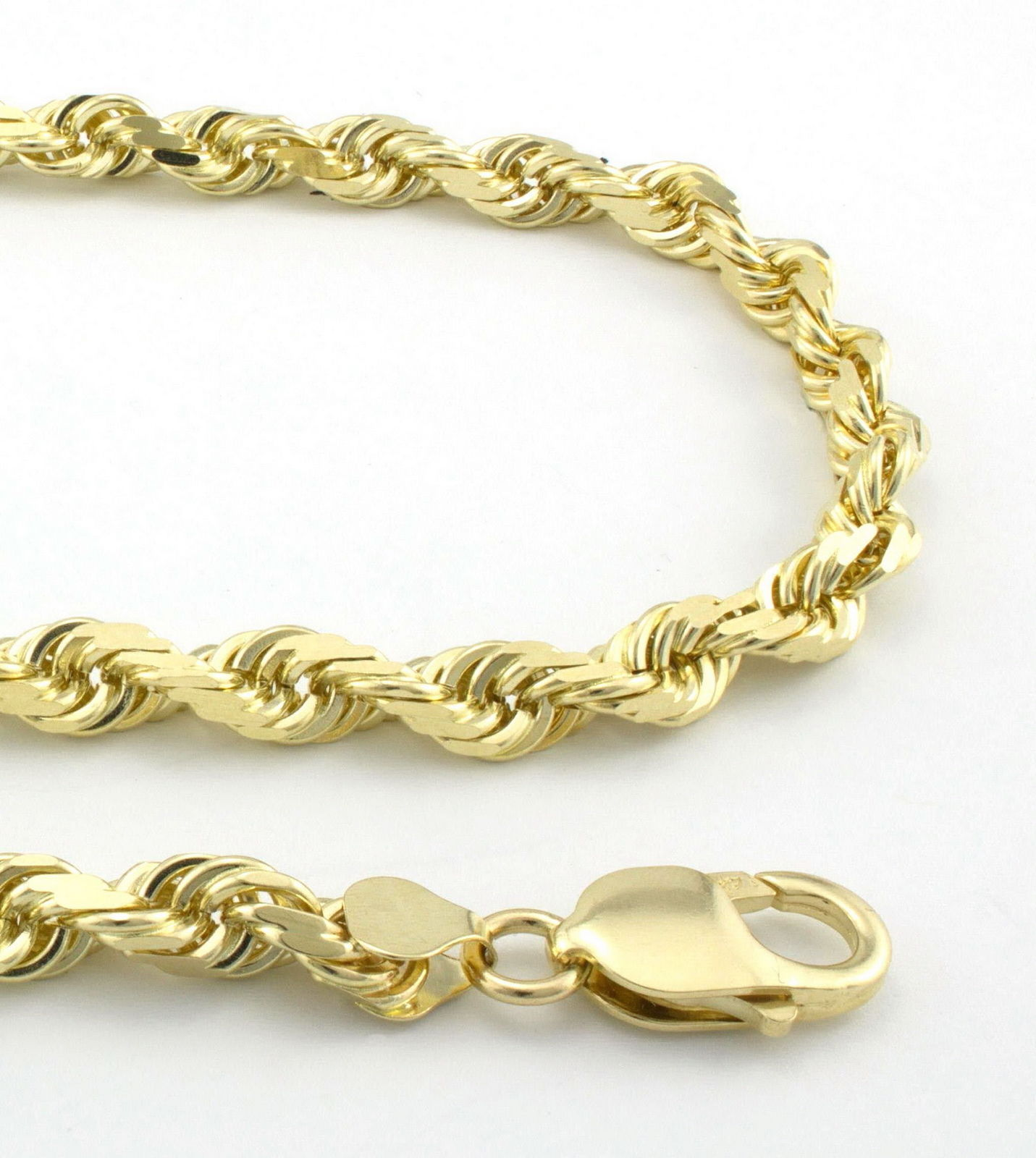 """14K Yellow Gold 5mm Thick Rope Link Chain Necklace 18"""" - Real gold"""