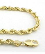 "14K Yellow Gold 5mm Thick Rope Link Chain Necklace 18"" - Real gold - $351.16"