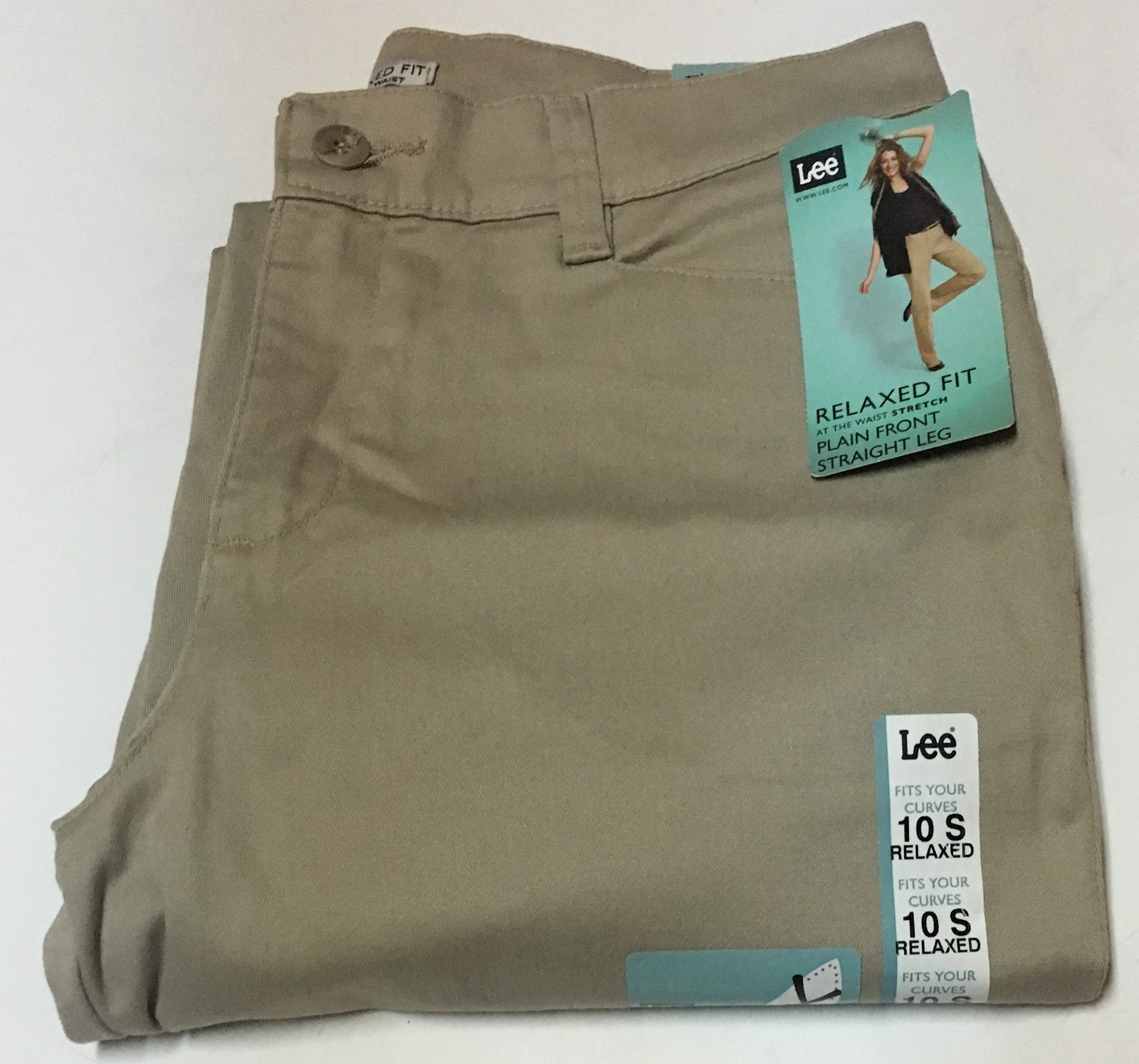 Lee Relaxed Fit Stretch Beige Pants Sz 10 Short Straight Leg NWT image 3