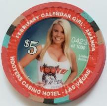 Calendar Girl Amanda HOOTERS Casino Hotel Las Vegas $5 Collectible Casino Chip - $9.95