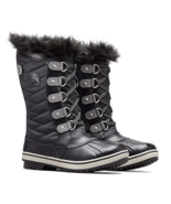 Sorel Girls Youth Size 3 Tofino II Black Faux Fur Snow Boots Quilted Lac... - $57.94