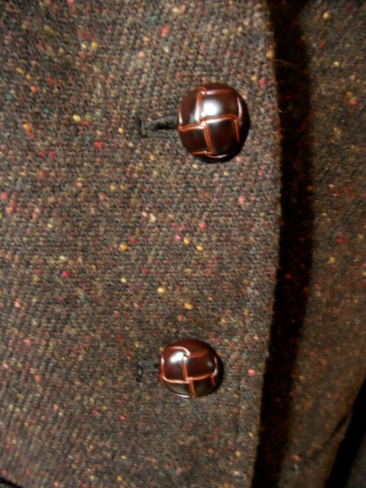KENAR Static Blazer 8 Brown speckled Button up Taipered fit Split tail Wool blen