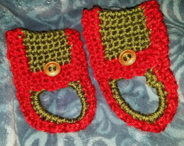 1 Pair Christmas Towel  Rings Green w/ Red Trim - $9.99