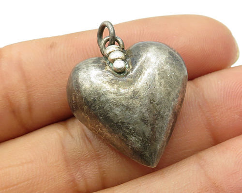 Primary image for 925 Sterling Silver - Vintage Puffy Love Heart Pebbled Detail Pendant - P2880